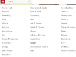 Screenshot of Pinterest Categories List | Fiore Communications