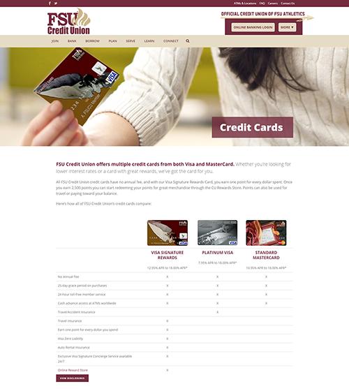 FSUCU Credit Cards page
